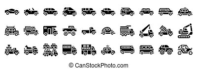Transportation related vector icon set, solid style