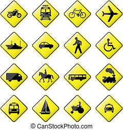 Transportation Road Sign -  glossy road sign.