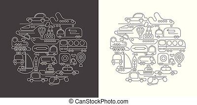 Transportation round shape line art designs
