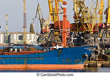 port - transportation series: port of loading freighter ship