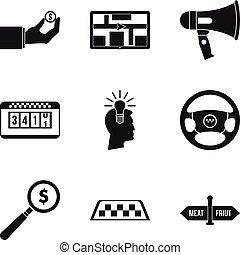 Transportation service icons set, simple style