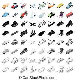 Transportation set icons in cartoon style. Big collection of transportation vector symbol stock illustration
