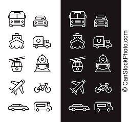 Transportation set of icons black and white