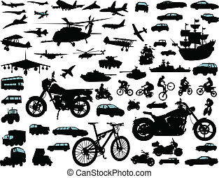Transportation - Set of transportation silhouettes: cars,...