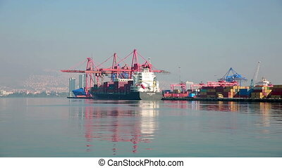 Transportation ship at Harbor - Port, Industrial Container...