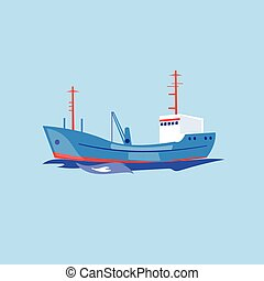 Transportation Ship on the Water. Vector Illustration