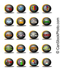 Symbols of flights, automobiles, ships and transportation.