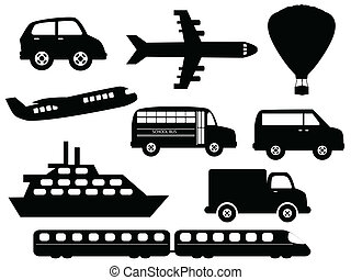 Transportation related symbols icon set