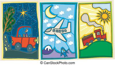 Transportation - Three great illustrations of different...