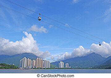 Transportation tool mountain cable car for sight seeing in Hong Kong