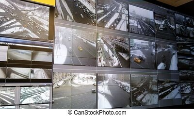 Transportation traffic control center - Screens in the...