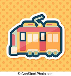 Transportation train flat icon with long shadow