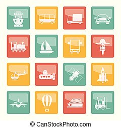 Transportation, travel and shipment icons over colored background