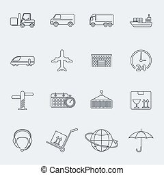 Transportation vector line icon set