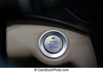 transportation., voiture, moderne, moteur, début, button., arrêt