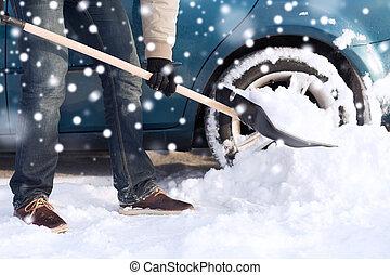 closeup of man digging snow with shovel near car