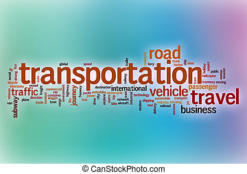 Transportation word cloud with abstract background