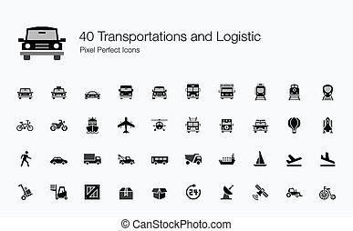 transportations, 40, logístico, iconos