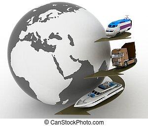 transportations, empfängnis, globe., arten, transport