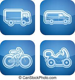 transportations, icons:, industria