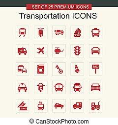 Transportations icons set vector
