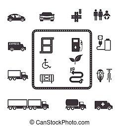transporte, ícone, jogo
