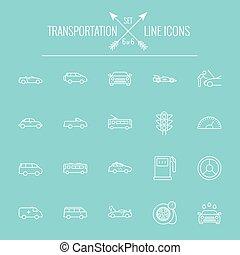 transporte, ícone, set.