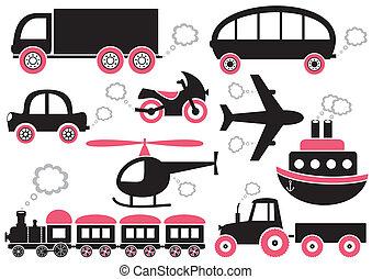 transporte, ícones