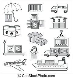 transporte, ícones, entrega, isolado, logística, pacotes, carga