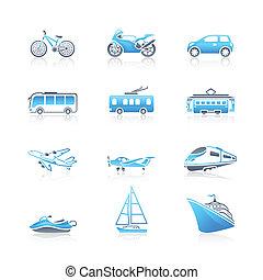 transporte, ícones, marinho, |, serie