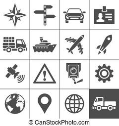 transporte, ícones, set., simplus, série