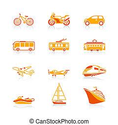 transporte, ícones, |, suculento, série
