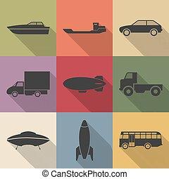 transporte, ícones, vetorial