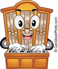 transporte órgão, mascote, apertando, teclas