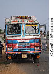 transporte, autobús, india, colorido, típico, adornado, público