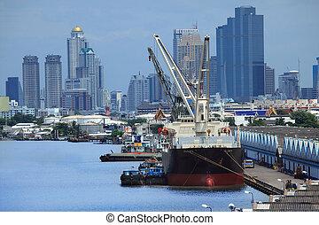 transporte, barco, carga