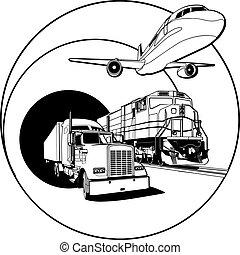 transporte, branca, emblema, pretas