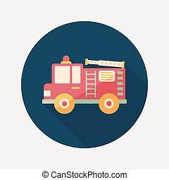transporte, camión de fuego, plano, icono, con, largo,...