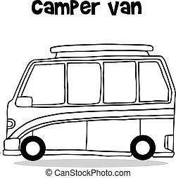 transporte, campista, cobrança, furgão