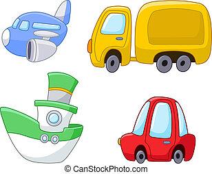 transporte, caricatura, jogo