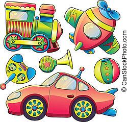 transporte, cobrança, brinquedos