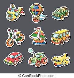 transporte, coloreado, -, colección, pegatinas, caricatura