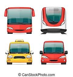 transporte, coloridos, ícones