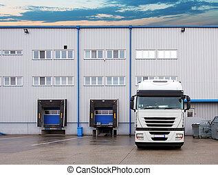 transporte de mercadería, -, camión, en, el, almacén