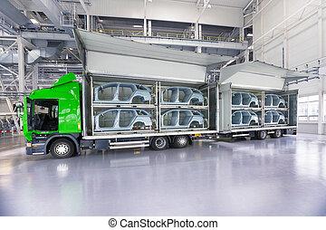 transporte, de, peças sobressalentes, para, fábrica carro