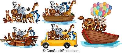 transporte, diferente, animais, tipos