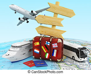 transporte, e, viagem, conceito