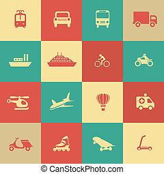 transporte, elementos, desenho, ícones, retro