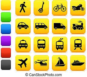 transporte, elementos, desenho, ícones