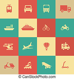 transporte, elementos, desenho, retro, ícones